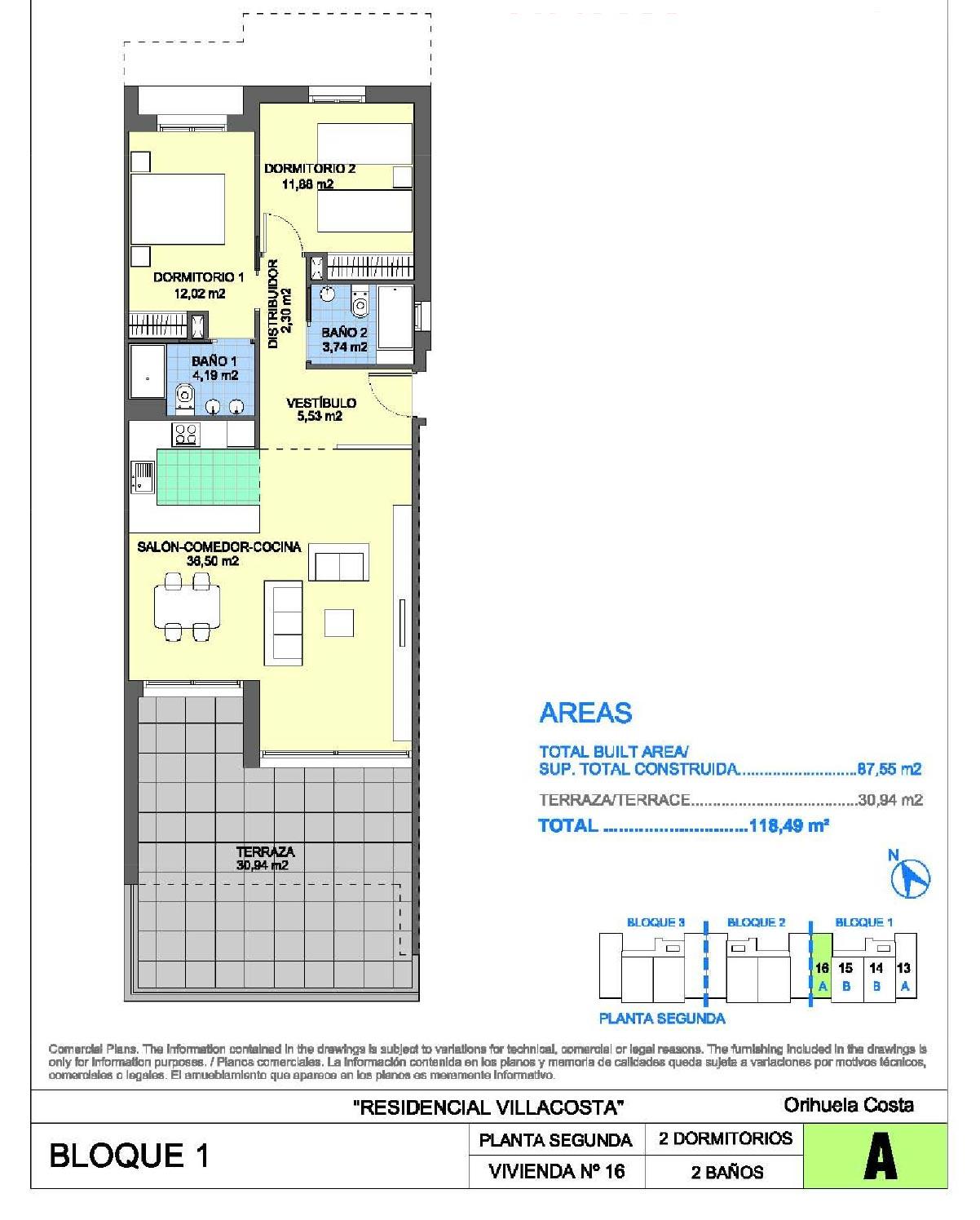 Appartement Costa Club à Villamartin (Plan 2)